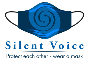 Silent Voice logo on a face mask - text reads: Silent Voice - Protect each other - wear a mask